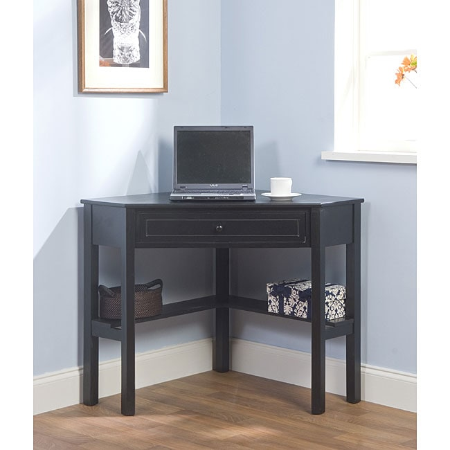 simple living black wood corner computer desk with drawer overstock shopping great deals on. Black Bedroom Furniture Sets. Home Design Ideas