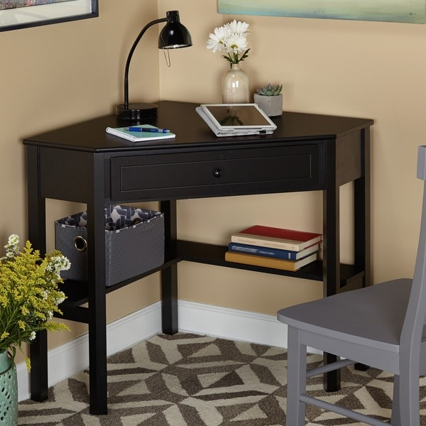 simple living black wood corner computer desk with drawer 10850957