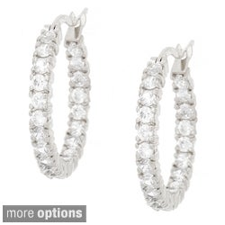 Icz Stonez 18k Gold overlay/Sterling Silver Inside-Out CZ Hoop Earrings