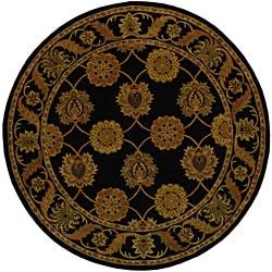Handmade Heritage Mahal Black Wool Rug (3'6 Round)