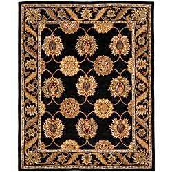 Handmade Heritage Mahal Black Wool Rug (5' x 8')