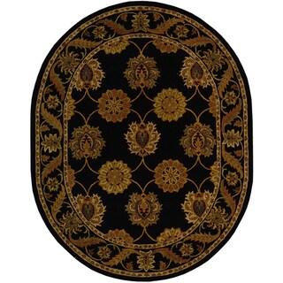 Handmade Heritage Mahal Black Wool Rug (4'6 x 6'6 Oval)