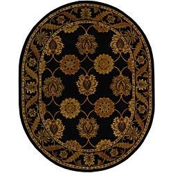 Safavieh Handmade Heritage Mahal Black Wool Rug (7'6 x 9'6 Oval)