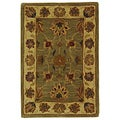 Handmade Heritage Kerman Green/ Gold Wool Rug (2' x 3')
