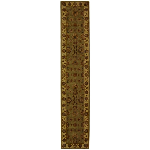 Safavieh Handmade Heritage Kerman Green/ Gold Wool Runner (2'3 x 12')