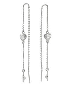 Tressa Sterling Silver Thread with Bezel Set CZ Earrings