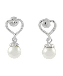 Tressa Sterling Silver Faux Pearl and Heart Earrings