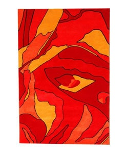 Hand-tufted Red Rose Wool Rug (8' x 10'6)
