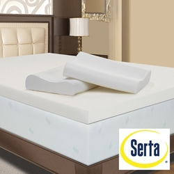 Serta 4-inch Memory Foam Mattress Topper with Contour Pillows