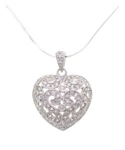 Tressa Sterling Silver Pave Style Heart Necklace