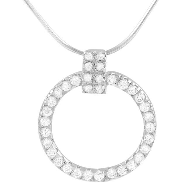 Journee Sterling Silver CZ Elegant Circle Necklace