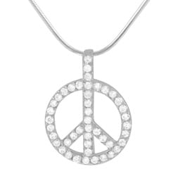 Journee Collection Sterling Silver CZ Peace Sign Necklace