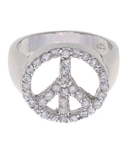 Tressa Sterling Silver Cubic Zirconia Peace Ring