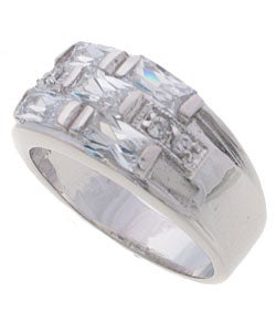 Tressa Collection Sterling Silver Checkerboard CZ Bridal & Engagement Ring