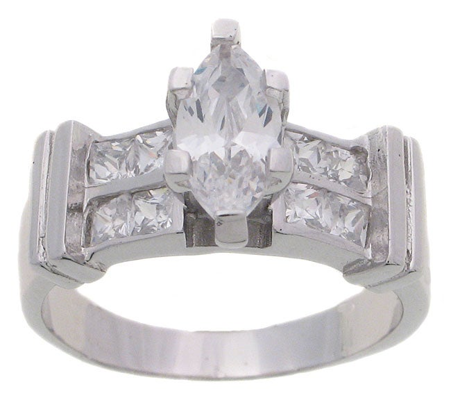 Journee Collection Sterling Silver CZ Marquise Engagement Ring