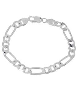 Sterling Essentials Sterling Silver 8-inch Diamond-cut Figaro Chain Bracelet (8mm)