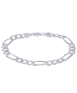Sterling Essentials Silver 8-inch Diamond-cut Figaro Bracelet