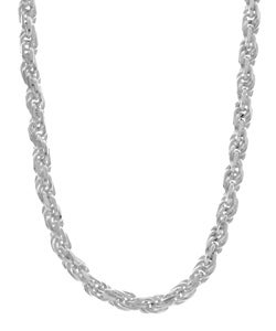 Sterling Essentials Sterling Silver 3mm Diamond-Cut Rope Chain (18-inch)