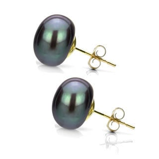 DaVonna 14k Yellow Gold Black FW Pearl Stud Earrings (9-10 mm)