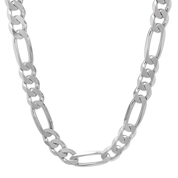 Sterling Essentials Italian Silver 9.5 mm Diamond-Cut Figaro Chain (20-30 Inch)