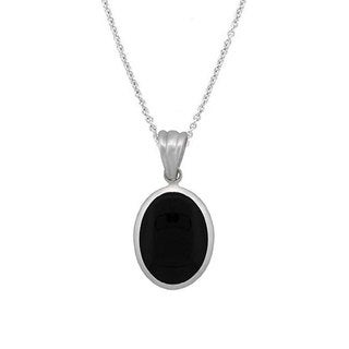 Glitzy Rocks Sterling Silver Oval Onyx Pendant Necklace