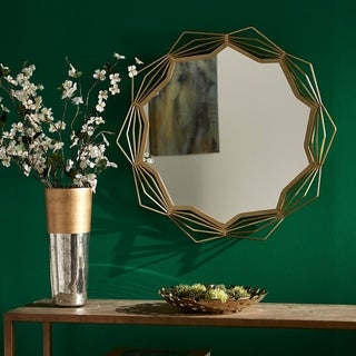 Lodo Gold Finish Wall Mirror with Star Geometric Metal Frame by iNSPIRE Q Modern