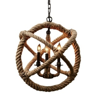 4-Light Rope Orb Chandelier