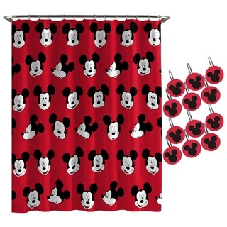 Disney Mickey Mouse Heads Shower Curtain and Hooks
