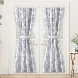 Porch & Den Nolana Floral Pattern Room Darkening French Door Curtain Panel