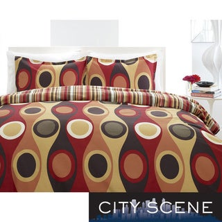 City Scene Retro Radar Camel Red 3-Piece Duvet Set