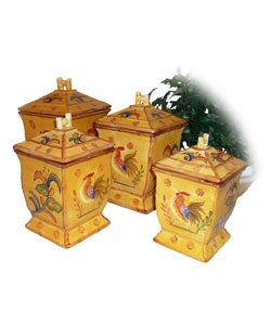 Sunshine Rooster Deluxe 4-piece Canister Set