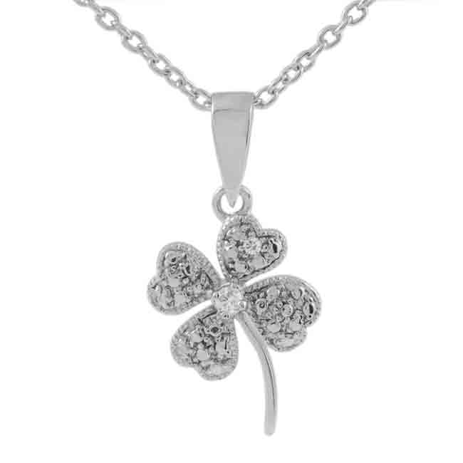 Journee Collection Sterling Silver CZ Four Leaf Clover Necklace