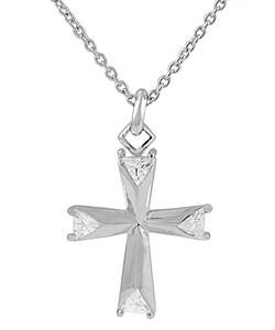 Tressa Sterling Silver Cross Pendant with Trillion-cut CZ