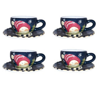 Snowman Delight 8-piece Cup and Saucer Set