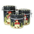 Snowman Delight Hand Painted 3-Piece Canister Set