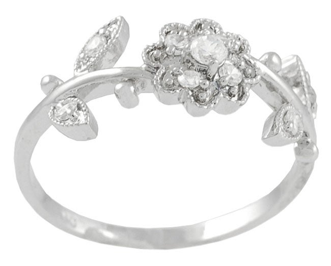 Journee Collection Sterling Silver Flower and Leaves CZ Ring