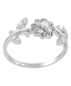 Tressa Sterling Silver Flower and Leaves CZ Ring