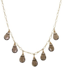Charming Life 14k Goldfill Smokey Quartz Teardrop Necklace