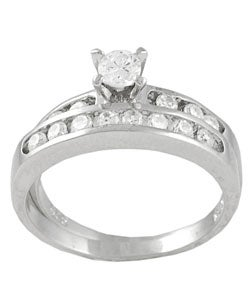 Tressa Collection Sterling Silver Round Cut Bridal & Engagement CZ Ring