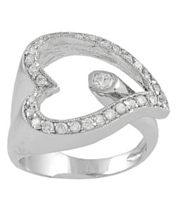 Tressa Sterling Silver Wrap Style Heart CZ Ring