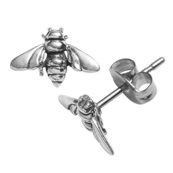 Journee Collection Sterling Silver Honey Bee Stud Earrings
