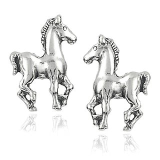 Tressa Sterling Silver Prancing Horse Stud Earrings