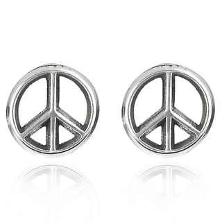 Journee Collection  Sterling Silver Peace Sign Stud Earrings