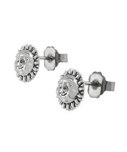 Tressa Sterling Silver Smiling Sun Stud Earrings