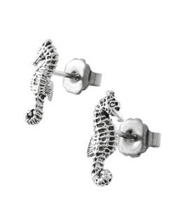Tressa Sterling Silver Sea Horse Stud Earrings
