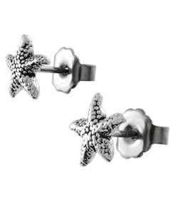 Tressa Sterling Silver Star Fish Stud Earrings