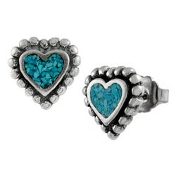 Tressa Sterling Silver Turquoise Heart Stud Earrings
