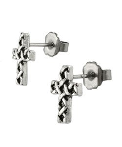Tressa Sterling Silver Celtic Cross Stud Earrings