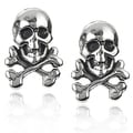 Tressa Sterling Silver Skull and Crossbones Stud Earrings