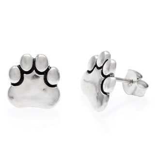 Tressa Sterling Silver Paw Print Stud Earrings